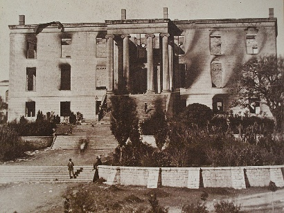 Old Texas State Capitol after fire