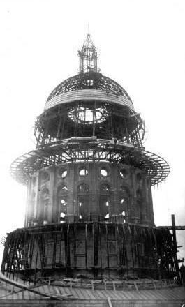 Texas State Capitol Dome Under Construction - Austin Texas old photo