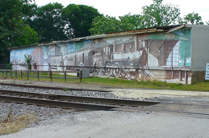 Athens TX Train Depot Mural by Charlie Bullock