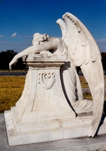 Weeping angel statue Calvary Cemetery Grayson County Texas
