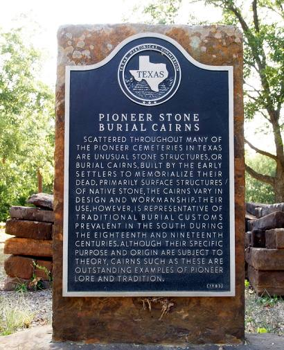 Keller TX, Tarrant County, Mount Gilead Cemetery , Pioneer Stone Burial Cairns historical marker