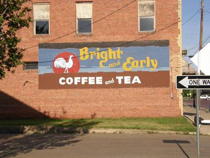 Cooper, Tx -  Bright And Early Coffee and  tea, painted  wall mural