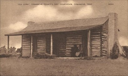 Old Cora, Comanche County Courthouse  Texas old postcard