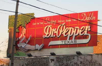 Dr. Pepper billboard in Dubin, Texas