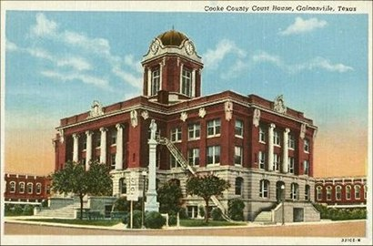 1911 Gainesville, Texas Cooke County courthouse old postcard