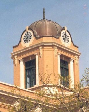 Gainesville TX Cooke County Courthouse Clock tower with copper dome