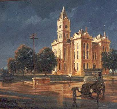 Oil painting of the 1886 Bosque County courthouse, Meridian, Texas