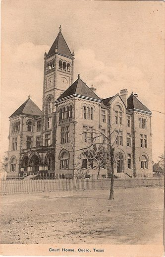 DeWitt County Courthouse, Cuero Texas 1907 vintage postcard