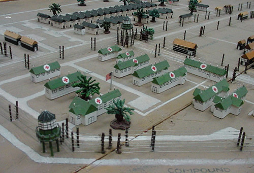model of Camp Hearne, WWII Texas  POW Camp