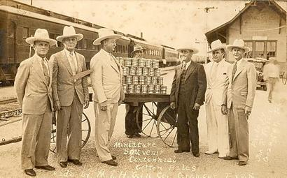 Miniature Cotton Bales - Granger Officials in 1936 sending miniature bales of cotton to Texas Centennial