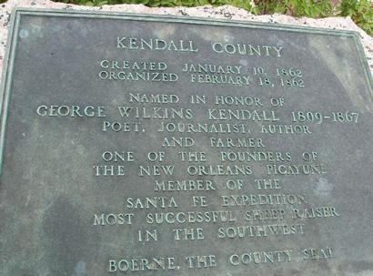 Kendall County marker in Boerne, Texas  on George Wilkins Kendall
