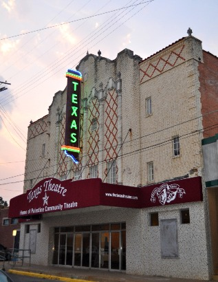 Palestine TX -  Restored Texas Theatre with neon sign