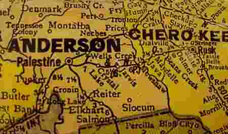 1940 Anderson and Cherokee County Texas census map