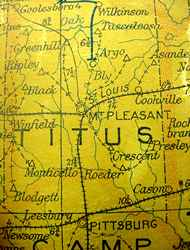 Titus County 1906 postal route map