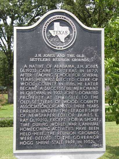 J.H. Jones and the Old Settlers Reunion Grounds historical marker, Governor Hoff Shrine Historic Site, Texas