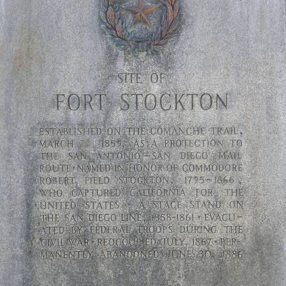 Site of Fort Stockton Centennial Marker text