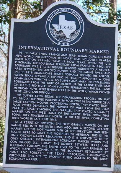 International Boundary Historical Marker, Republic of Texas