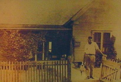 Robert E Howard in front of his home in Cross Plains, Texas