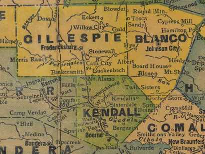 1940s Map of Gillespie, Blanco, and Kendall counties, Texas