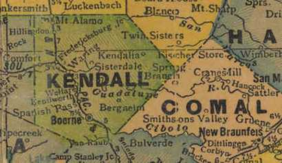Kendall County Texas 1940s old map