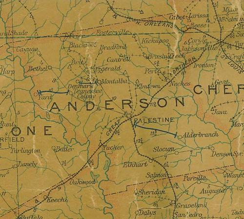 Anderson  county TX 1907 postal map