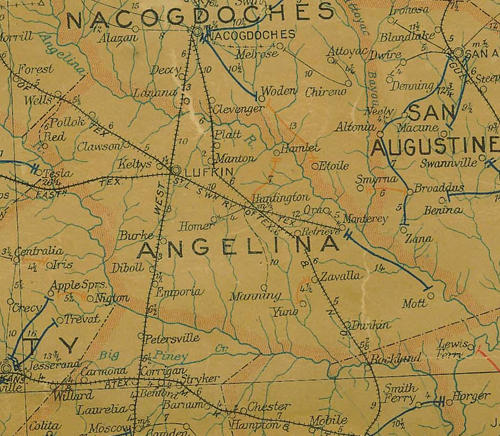 Angelina County TX 1907 Postal Map