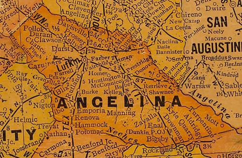 TX Angelina  County 1920s Map
