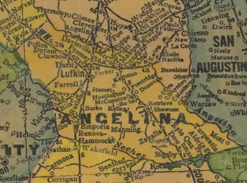 TX Angelina  County 1940s Map