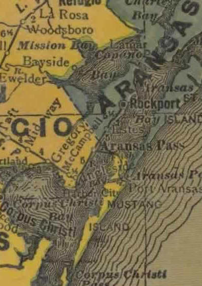 Aransas Bay Texas 1940s Map