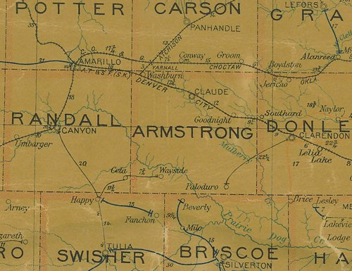 TX - Armstrong  County 1907 postal map