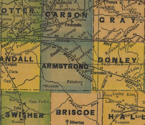 Armstrong County TX 1940s Map