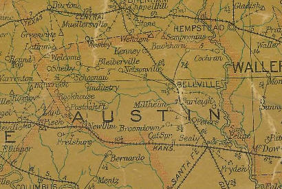 Austin County Texas 1907 Postal Map