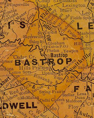 Bastrop County Texas 1920s map