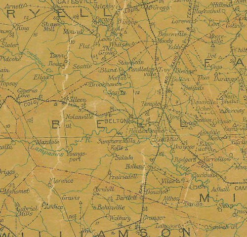 Bell County Texas 1907 Postal map