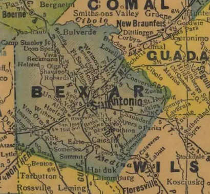 Bexar County Texas 1940s map