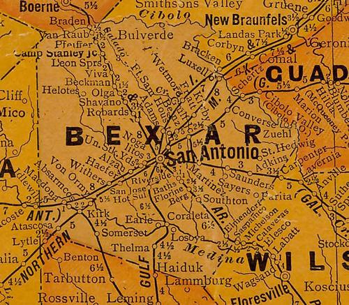 TX Bexar County 1920s Map