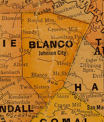 Blanco County TX 1920s Map