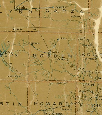 Borden County Texas 1907 Postal map
