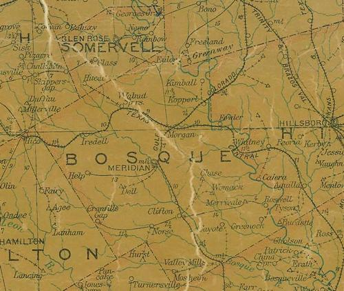 Bosque County TX 1907 Postal Map
