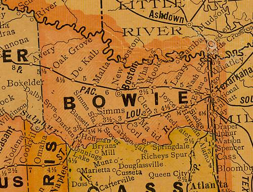TX Bowie County 1920s Map