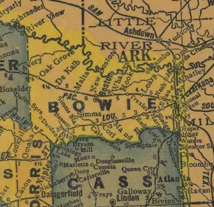 TX Bowie County 1940s Map