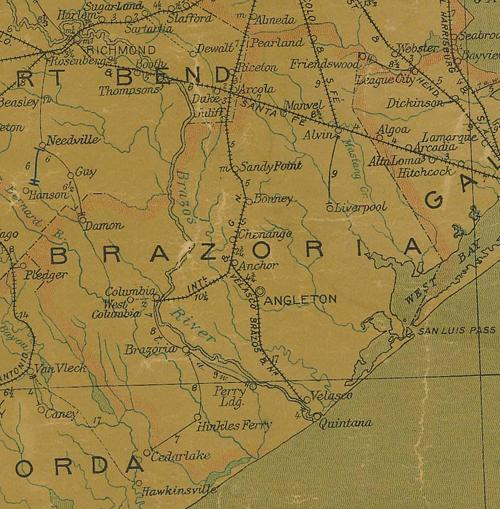 TX Brazoria County 1907 postal  Map