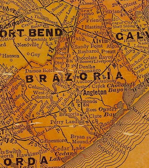 TX Brazoria County 1920s Map