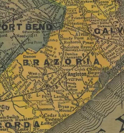 TX Brazoria County 1940s Map