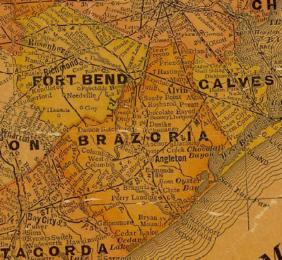 Brazoria and Ft Bend County Texas 1920s old map