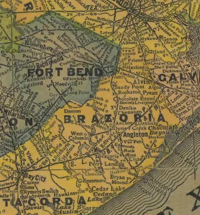 Brazoria and Ft Bend County Texas 1940s old map
