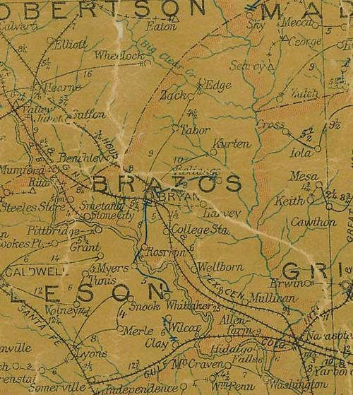 Brazos County TX 1907 Postal Map