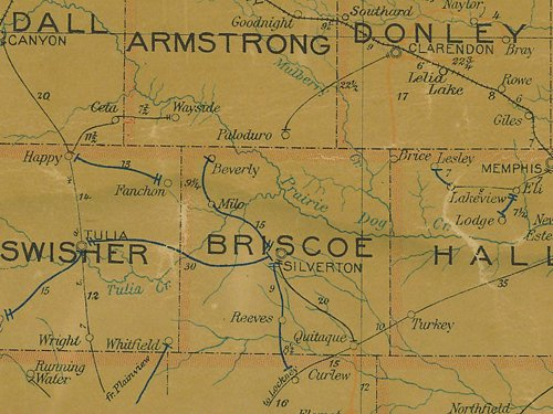 Briscoe County TX 1907 postal map