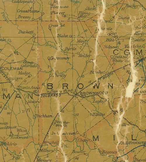 TX Brown County 1907 Postal Map