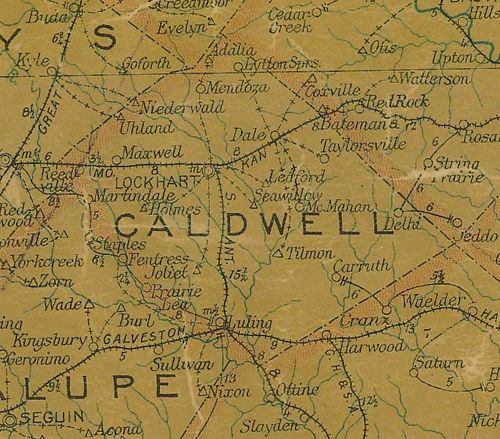 TX Caldwell County 1907 postal map